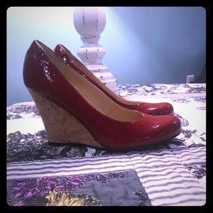 Women's Nine West Wedge Heel Red Shiny Round Toe 7